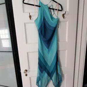 BCBG one shoulde1r real blue dress